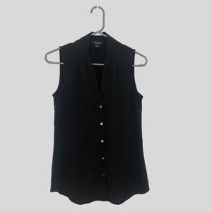 Le Chateau Button Up Sleeveless Black Blouse